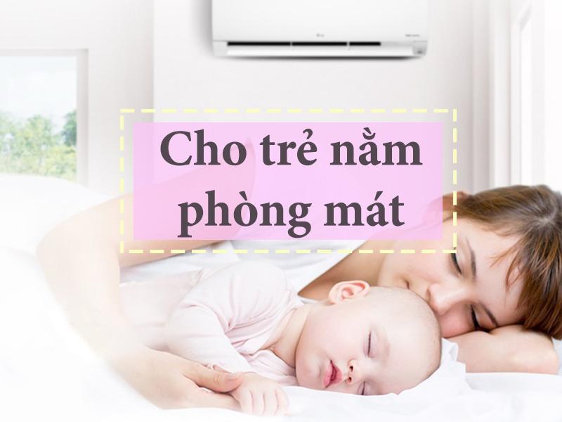 Cho trẻ nằm trong phòng mát giúp hạn chế rôm sảy ở trẻ