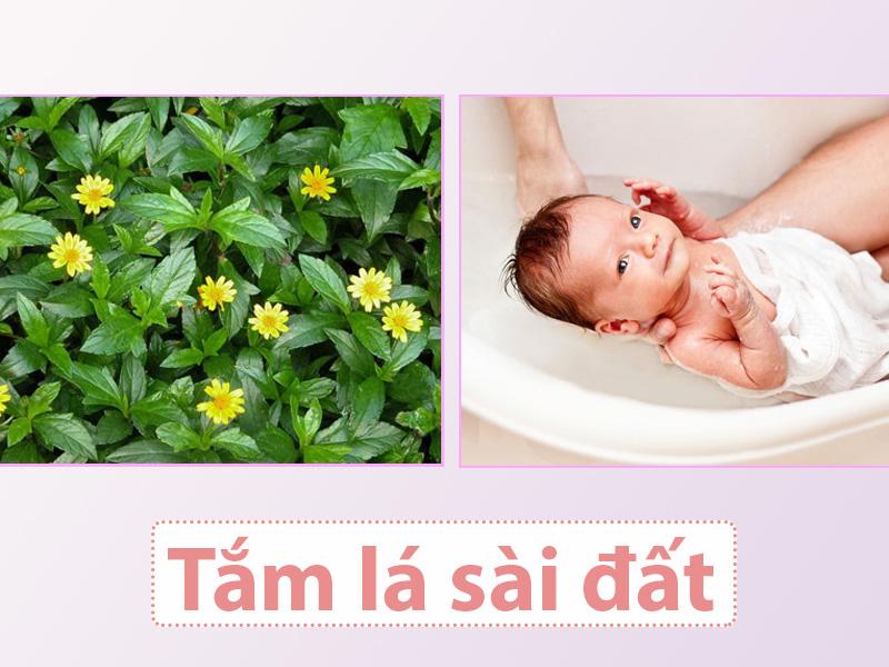 Tắm cho bé bằng lá sài đất
