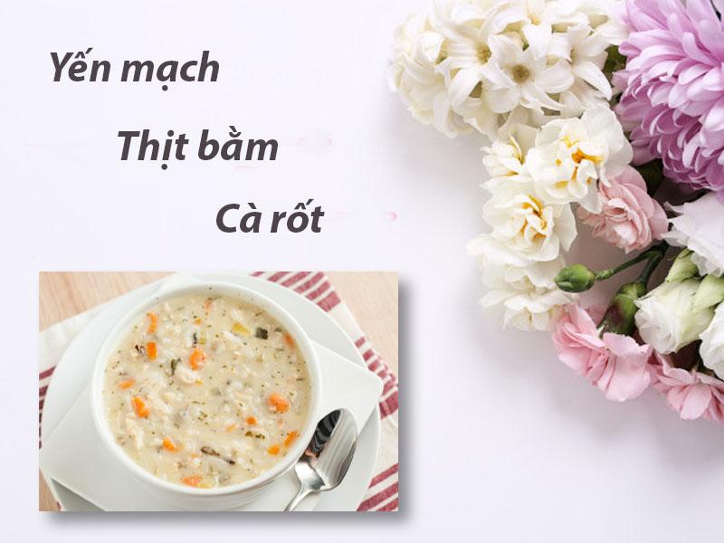 Cháo yến mạch, thịt bằm, cà rốt